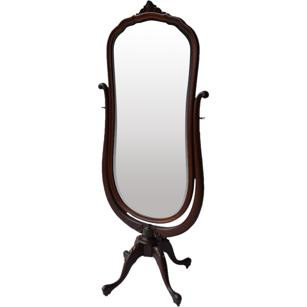 Mahogany cheval mirror with shaped beveled glass