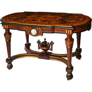 Renaissance Revival Victorian rosewood center table with marquetry inlaid top
