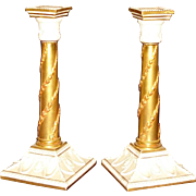 Royal Worcester Victorian candlesticks with gilt decoration
