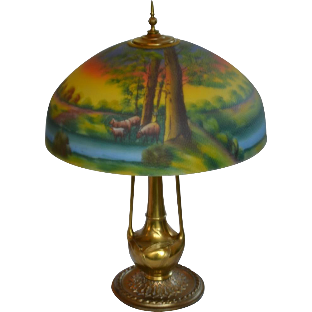 Reverse Painted Table Lamp With Scenic Shade From Souhantq