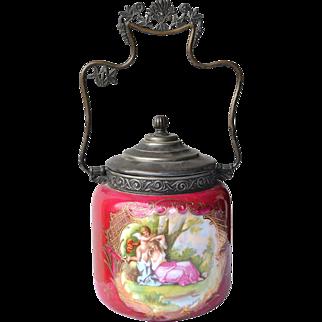 Carlsbad Victoria Victorian biscuit jar artist signed