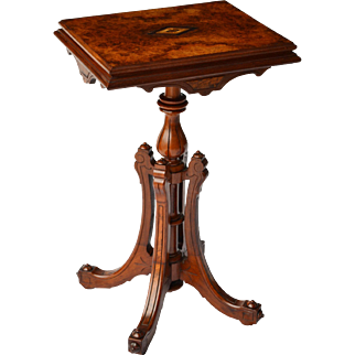 Burled top Renaissance Revival Victorian walnut stand with inlay