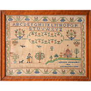 Victorian Sampler from Rockland County, NY.  Dated 1865