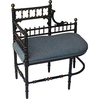 Faux bamboo Aesthetic Victorian period settee with Japanese design.