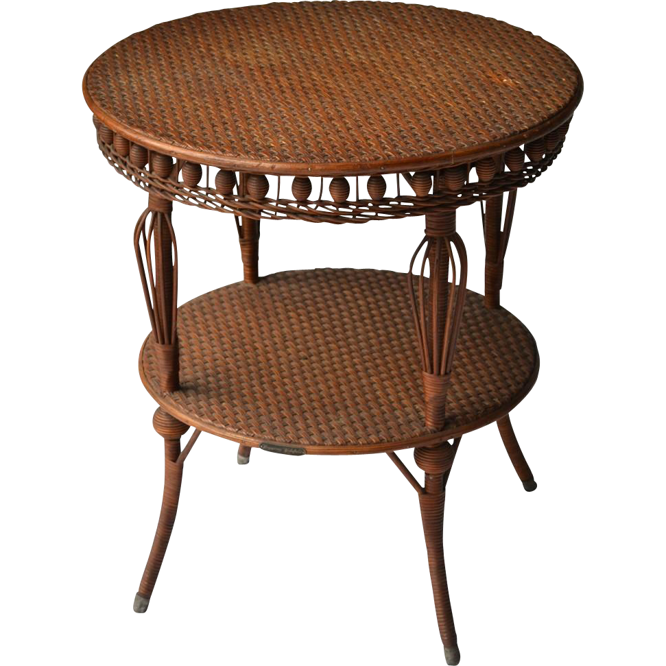 Heywood Wakefield natural finish wicker round table