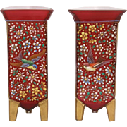 Aesthetic Victorian case glass vases with enamel painted decoration attributed to Ludwig Moser