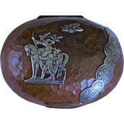 Gorham & Co mixed metal box with silver applied to hammered copper