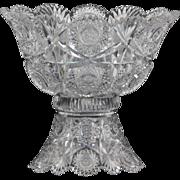 Chrysanthemum pattern brilliant cut glass punch bowl