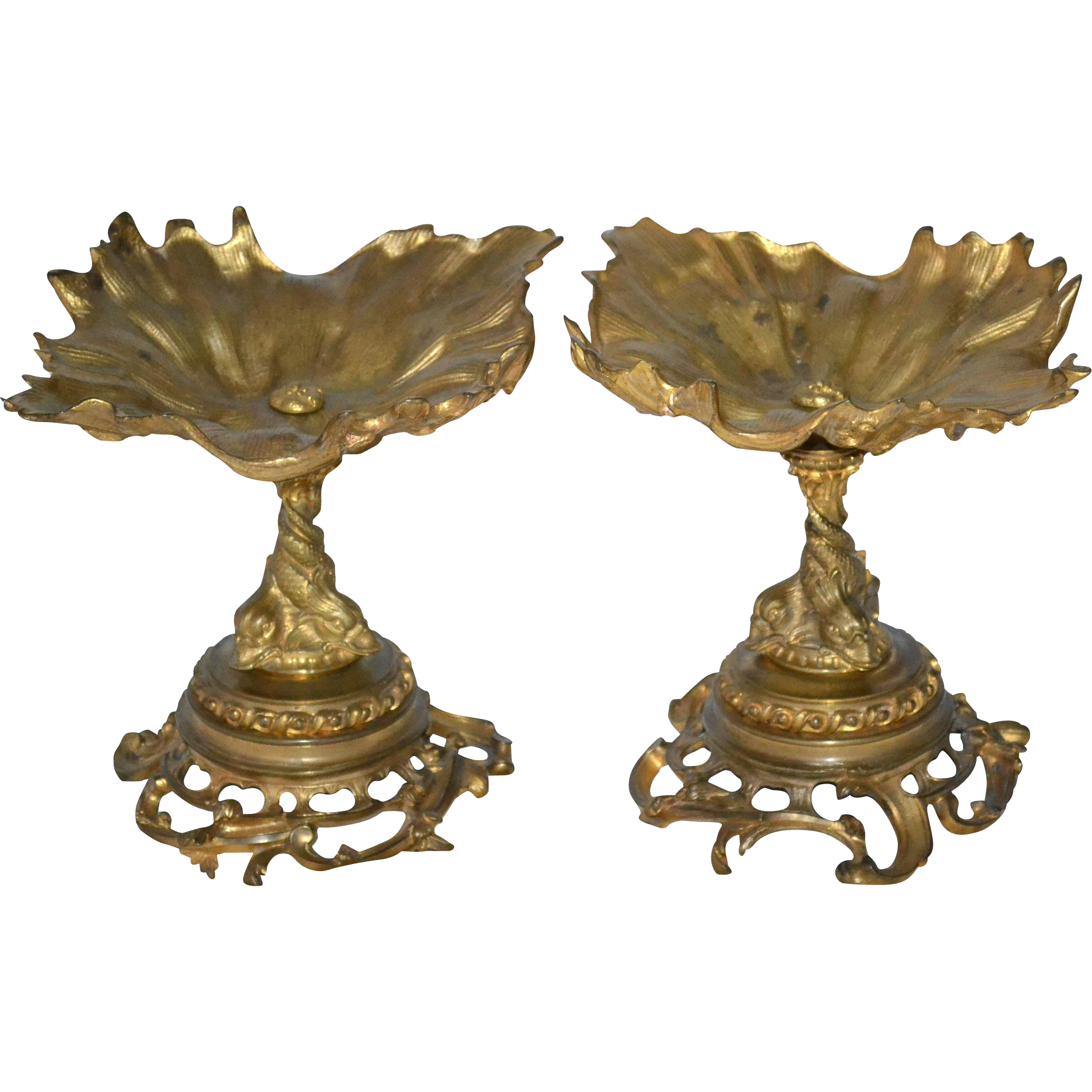 Pair of bronze Victorian tazzas or compotes with dolphin bases.