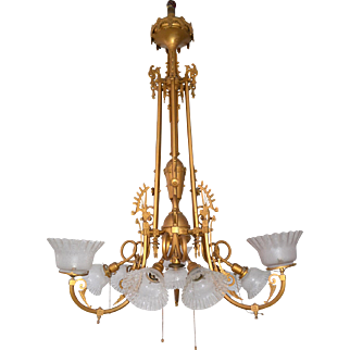 Multi arm Victorian gas and electric hanging brass chandelier with etched glass shades