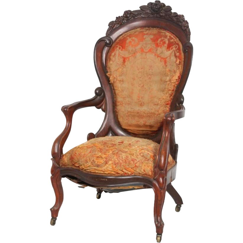John Henry Belter Rococo Victorian armchair in the Rosalie without grapes pattern