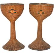 Pair of wicker planters made by Cunningham Reed and Rattan Company, New York