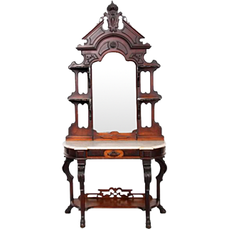 Renaissance Revival Victorian walnut etagere made by P.F. Packard & Sons Boston