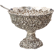 Hennegen Bates & Co, Sterling repousse punch bowl with matching ladle dated 1894