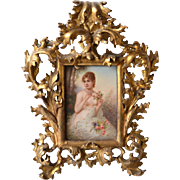 Victorian German painting on porcelain of semi nude woman in fancy gilt frame