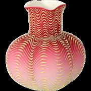Victorian Mount Washington Coralene pink and white bulbous vase