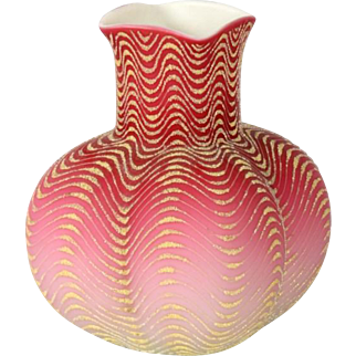 Victorian Mount Washington Coralene pink and white bulbous vase