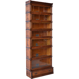 Globe Wernicke Ideal seven section oak bookcase with raised panel sides