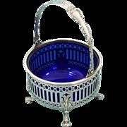 Gorham Strasbourg pattern sterling round cobalt-insert basket