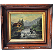 Adirondack Victorian oil painting dated 1984 in walnut frame