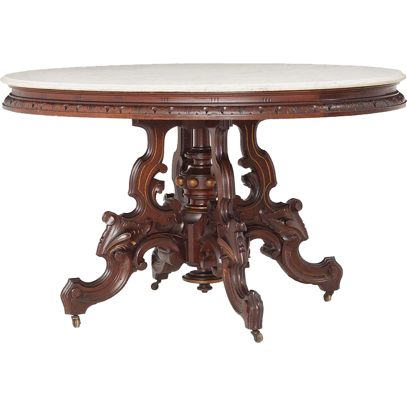 Oversized walnut Victorian Thomas Brooks oval marble table