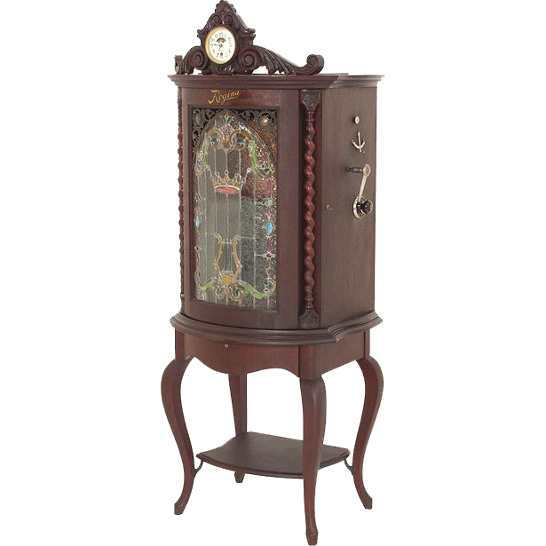Regina #35 Music Box with Art Glass Front and Clock