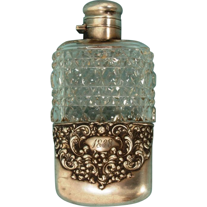 Sterling and glass flask dated 1898