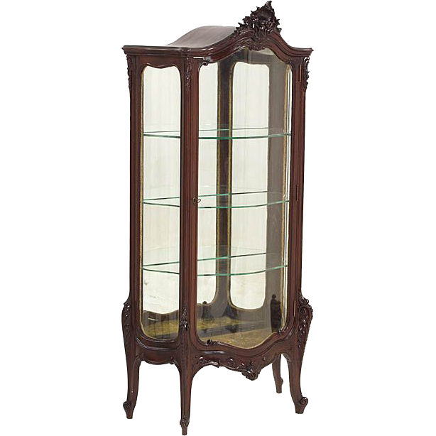 Heavily Carved Serpentine Front Mahogany Curio Cabinet