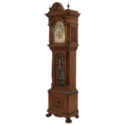 Oak Walter Durfee #5 Grandfather clock retailed by Moores & Winder, Troy, NY