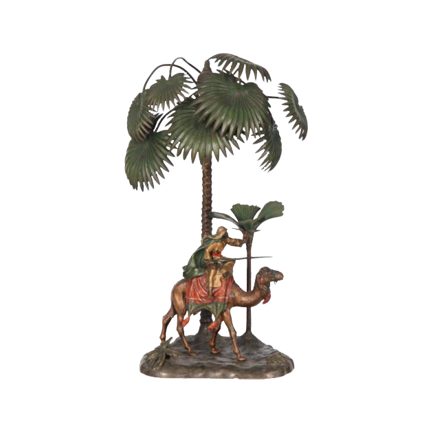 Cold Painted Bronze Made in Austria  Lamp with Arab and Camel
