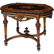 Victorian Inlaid Walnut Renaissance Revival Center Table with Bronze Medallions