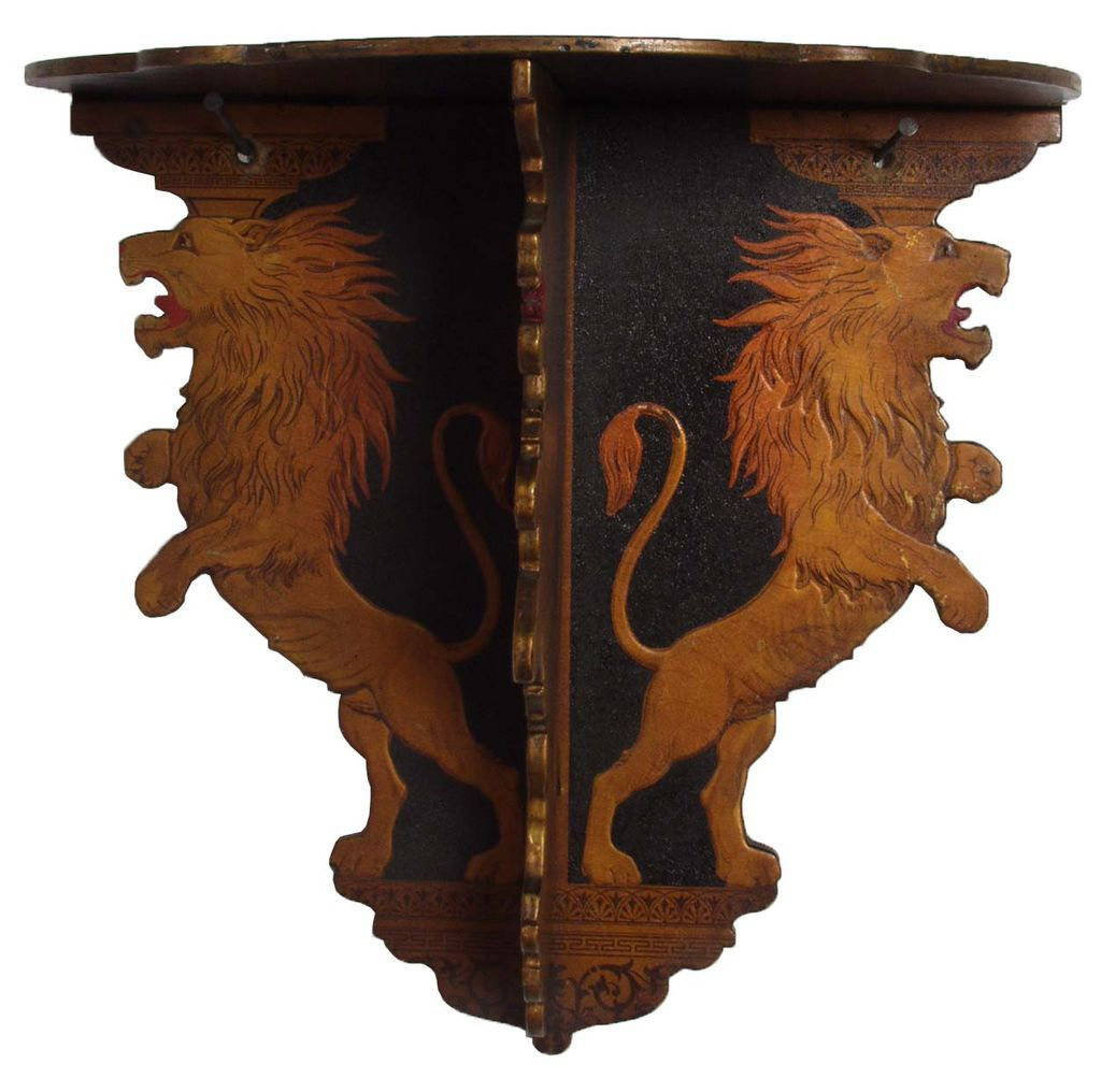 Victorian Papier Mache Lion Hanging Shelf