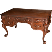 R. J. Horner Carved Quartered Oak Desk with Ladies Heads on Corners