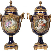 Sevres Pair of Cobalt Blue and Bronze Urns