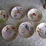 Vintage Handpainted Haviland Dessert Bowls with Fruit