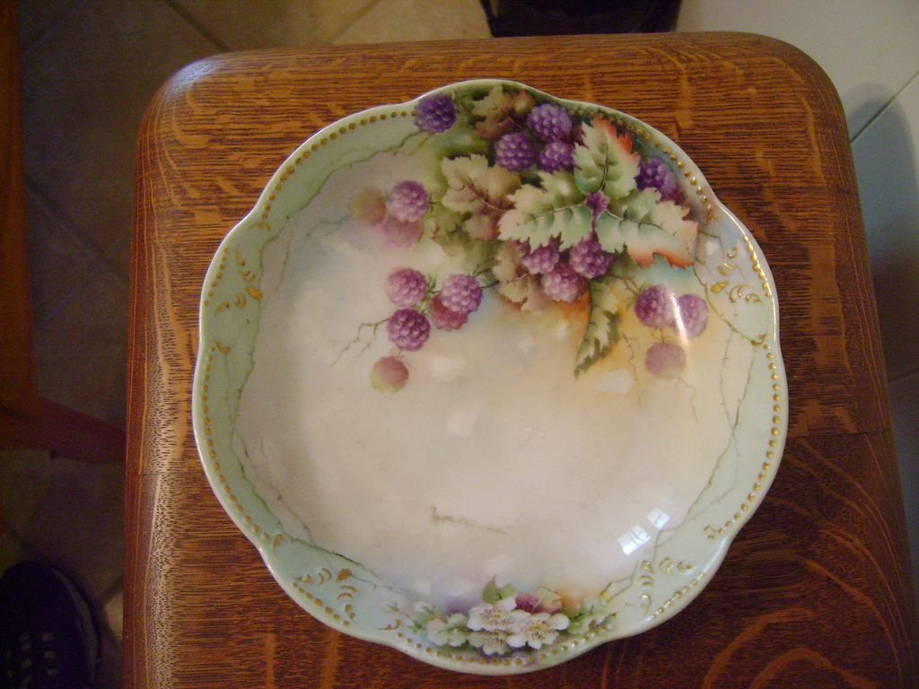 Vintage Limoges Bowl with Blackberries