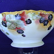 Limoges Handpainted Punch Bowl with Blackberries