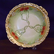 Handpainted Limoges Bowl with Strawberries by Whites Art Company