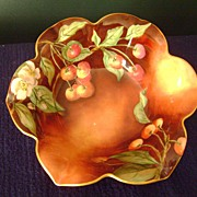 Incredible Antique Handpainted Limoge Bowl with Cherries