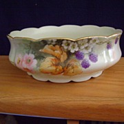 Antique Limoges Handpainted Pudding Bowl with Blackberries