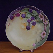 Antique Handpainted Bowl decorated with Blackberries
