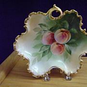 Antique Handpainted Bon-Bon Dish with Peaches
