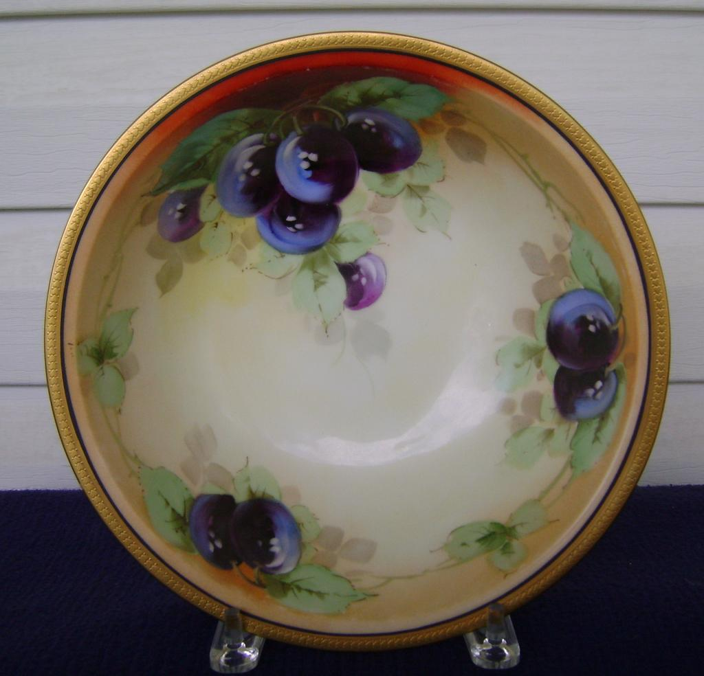 Antique Bavaria Handpainted Fruit Bowl with Plums