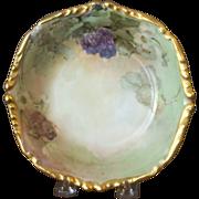 Antique Limoges Handpainted Bowl with Blackberries