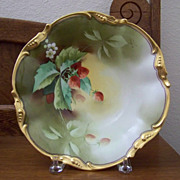 Limoge Handpainted Center Bowl with Strawberries by Heap