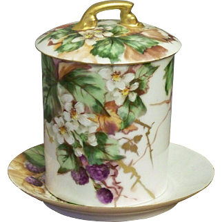 Antique Limoges Hand Painted Condensed Milk Container with Blackberries