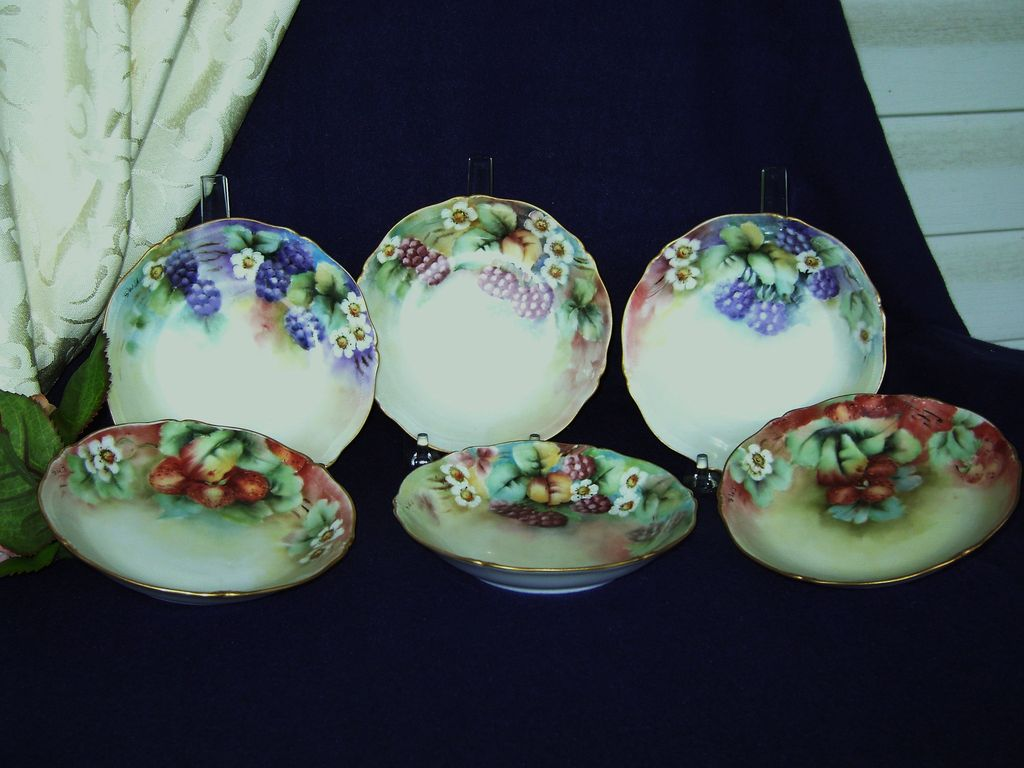 Antique Limoges Handpainted Dessert Bowls