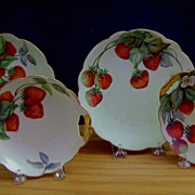 Antique Limoges Bavaria Dessert Set decorated with Strawberries