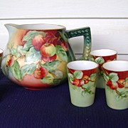 Vintage Handpainted Cider Set with Cherries
