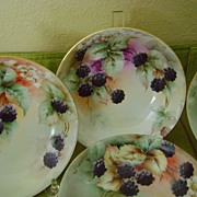 Vintage Handpainted Dessert Bowls with Berries